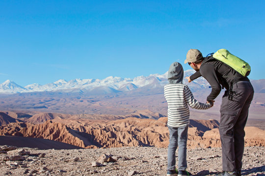 family enjoying atacama desert