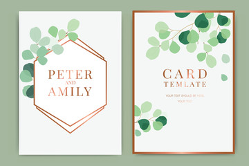 Summer in copper Wedding Invitation themes, floral invite thank you, rsvp modern card Design in tropical leaf greenery  branches decorative Vector elegant rustic template