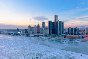 Detroit Aerial in Winter