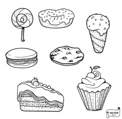 Set of sweets icons drawn doodle dessert.