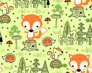 Seamless pattern vector with funny wood land animals cartoon
