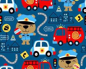 seamless pattern vector of vehicles cartoon with funny cop