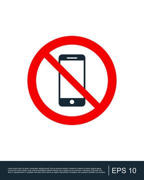No Cell Phone Zone, icon, logo, vector