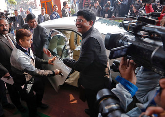 India's interim Finance Minister Piyush Goyal arrives at the parliament to present 2019-20 budget in New Delhi