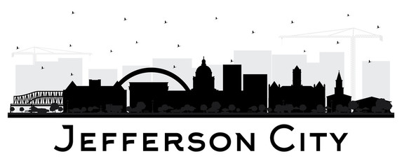Jefferson City Missouri Skyline Silhouette with Black Buildings Isolated on White.