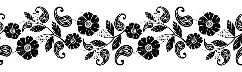Seamless black and white flower with paisley border