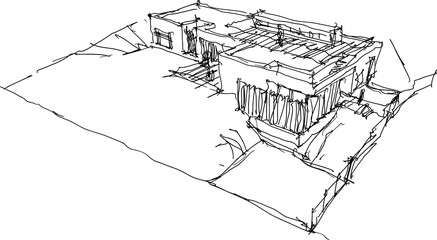 hand drawn architectural sketch of detached house or bungalow situated in the steep slope