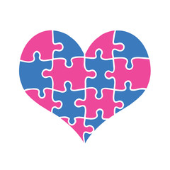 Blue and Pink Heart Assembled of Puzzle Pieces