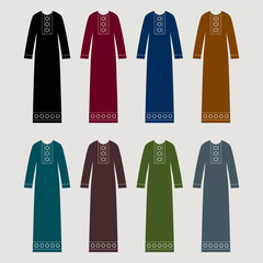 Hijab - middle eastern muslim dress, abaya - vector illustration.