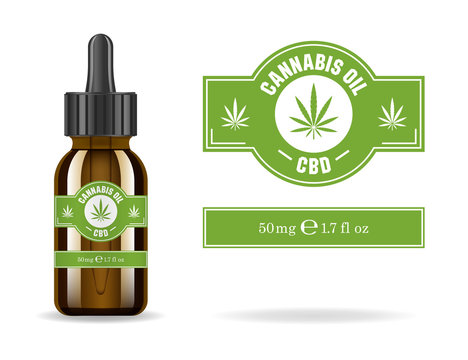 Marijuana, cannabis, hemp oil. Realistic brown glass bottle with cannabis extract. Icon product label and logo graphic template. Isolated vector illustration.
