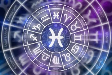 Zodiac Pisces symbol inside of horoscope circle