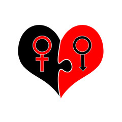 Signs of Venus And Mars Inside of Puzzle Heart.