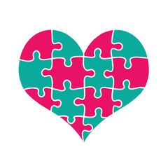 Colorful Heart Made of Pink and Green Puzzle Pieces