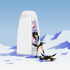 Refrigerator and penguins.