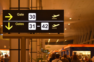 Digital bulletin board with airport gateway signs