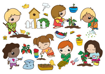 Kawaii children gardening - set of vector flat hand drawn illustrations of cute kids doing farming job - digging, gathering, planting, growing, collecting garbage, caring plants, self-sufficiency, eco