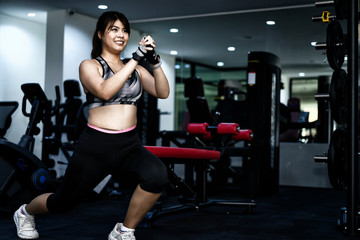 Beautiful woman exercise in fitness to tighten the puppet.Lose weight with cardio to lose fat and build muscle.woman in fitness suite exercise workout in gym.