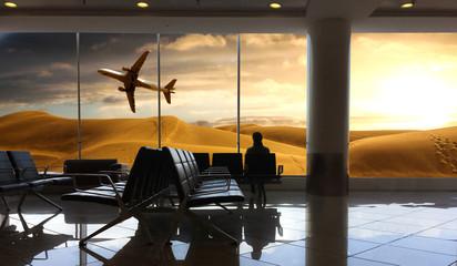 passeggero che aspetta il volo per località esotica