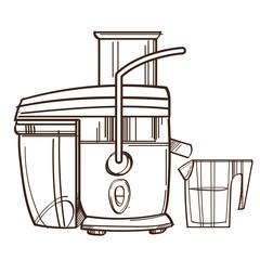 vector monochrome Juicer. Juicing machine. Illustration isolated on white background