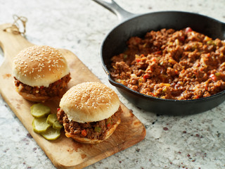 sloppy joe sandwiches freshly cooked from skillet