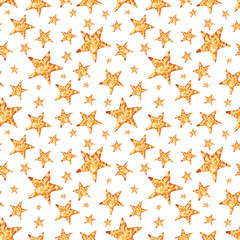 Watercolor illustration, gold stars, handmade,seamless pattern,light background