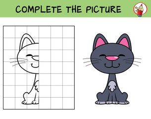Complete the picture of a funny cat. Copy the picture. Coloring book. Educational game for children. Cartoon vector illustration