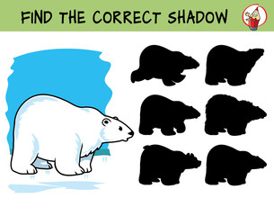 Polar bear. Find the correct shadow. Educational matching game for children. Cartoon vector illustration
