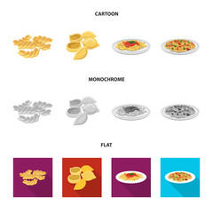 Vector illustration of pasta and carbohydrate logo. Set of pasta and macaroni stock vector illustration.