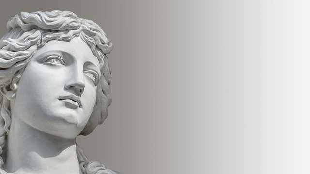Portrait of young sensual Roman Renaissance Era woman in Vienna, Austria, with paste space