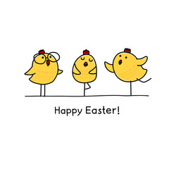 Happy Easter greeting card with Easter chicks