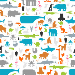 Beast pattern. Animals background seamless. cute cartoon animals.jungle and forest Wild nature. Fauna of Different Continents. Zoo