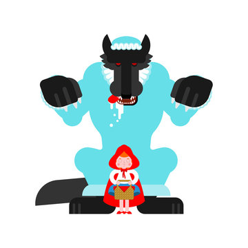 Little Red Riding Hood and Wolf. Vector