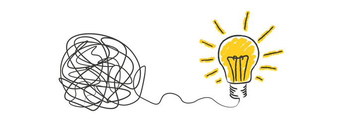 scribble to light bulb idea Wall mural