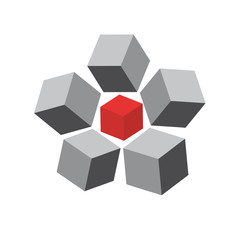Vector logo of cubes and boxes, concept of shipping