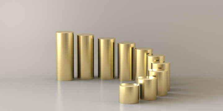 Empty gold steps cylinder on white background. 3D rendering.