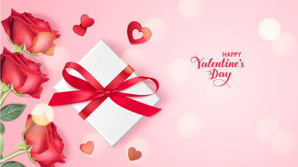 Happy Valentine's Day. Holiday design template. Pink background with decorative gift box, red roses and heart confetti. Vector illustration