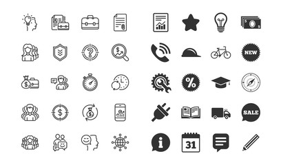 Business line icons. Group, Profile and Teamwork signs. Portfolio, Timer and Security shield symbols. Analytics and Human Management. Information, calendar and call phone icons. Vector
