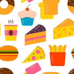 Seamless pattern with fast food icons in flat style. Vector colorful illustration.
