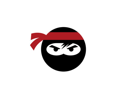 Ninja warrior icon. Simple black ninja head logo