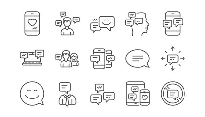 Message and Communication icons. Group chat, Speech bubble and Sms. Contact linear icon set.  Vector