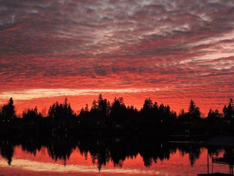 Intense Sunset on Lake Mreidian in Kent Washington 2