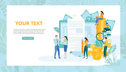 Landing page template for business projects with people, computer, money and space for text.