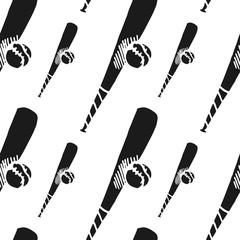 baseball bat and ball vector seamless pattern
