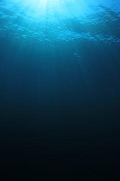 Underwater blue background in sea