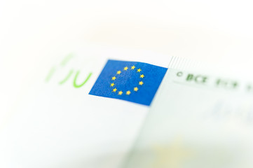 Euro cash background. Banknotes of the european union on a white background. Shallow depth of field.