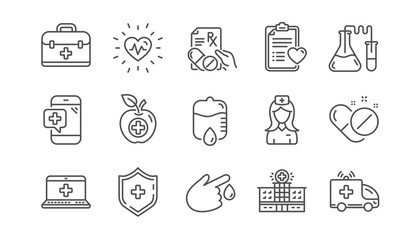 Medical line icons. Hospital assistance, Health food diet and Laboratory. Chemistry linear icon set.  Vector