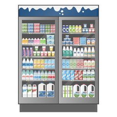Commercial refrigerator full of various dairy products with price
