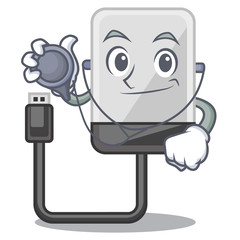 Doctor hard drive in shape of mascot