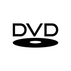Black dvd icon or logo isolated on white