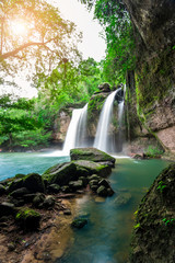 Beauty in nature, amazing waterfall at tropical forest of national park, Thailand. Haew Suwat waterfall.